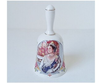 Crown Staffordshire Bell Ornamental Fine Bone China Queen Elizabeth 1st 80th Birthday Collectible Vintage British Royal Family Commemorative