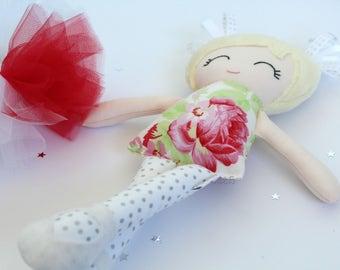 Handmade Fabric Doll - Cloth Doll - Ballerina Doll - Mini Miss Doll - Doll with Tutu - First Birthday Gift - Heirloom Doll - Rag Doll