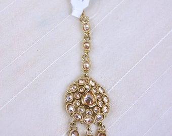 Champagne Kundan headpiece tikka  antique | Indian Jewelry | Indian headpiece headgear South Indian Jewelry