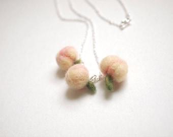 Needle Felted Sweet Peach Necklace - Felt Peach Necklace - Peach Necklace - Made to Order