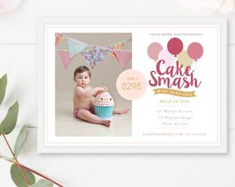 Cake Smash Mini Session Template, Cake Smash Marketing Board, Photoshop Template, Cake Smash Template, 1st Birthday - INSTANT DOWNLOAD!