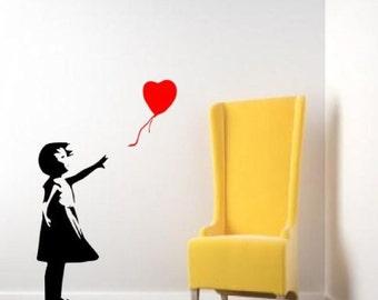 Banksy heart balloon girl childhood Wall Decal -Decals -Wall Vinyl Decal-Wall Decor-vinyl Wall Art-Wall-Wall Stickers urban sticker