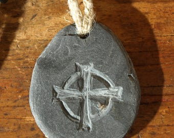 Primitive Celtic Cross Stone Pendant