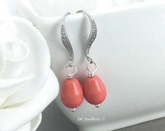 Coral Earrings, Dangle Earrings, Bridesmaids Earrings, Drop Earrings, Bridesmaid Earrings, Pearl Earrings, Swarovski Earrings, Gift for Her