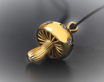 Gold Mushroom Necklace, Pendant gold Mushroom Charm, Woodland Pendant, Fungi gioiello, Magic Mushroom, Necklace sapphire, Mushroom Boho