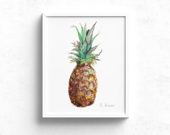 Pineapple Art Print - Food PRINT - Watercolor Pineapple - Kitchen Wall Art - Dining Room Art - Pineapple - Food Painting - Food Illustration