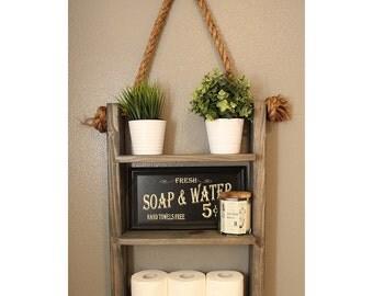 bathoom storage shelf ladder shelf wood and rope shelf farmhouse decor cabin