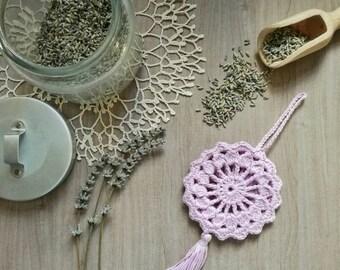 Lilac Lavender crochet cotton profumabianchera mandala with tassel