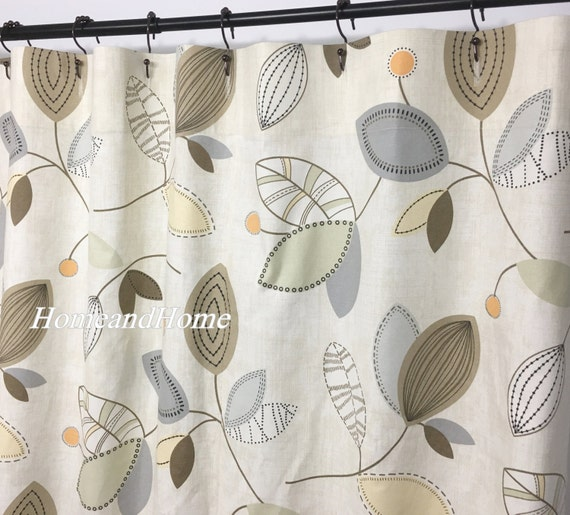 Custom Fabric Shower Curtain Calder Dune Tan Gray Brown
