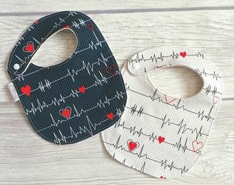 EKG Heart Baby Bibs / Drool Bibs / Gender Neutral / Organic Fleece / Hospital / Medical / Nurses and Doctors / Healthcare Professional