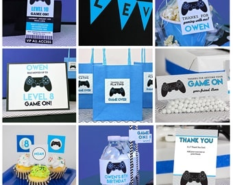 Video Game Birthday Party in Blue INSTANT Download - Video Game Party by Printable Studio