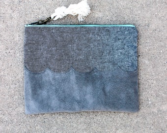 Mina Ocean Wave Fabric Clutch - Coastal Grey