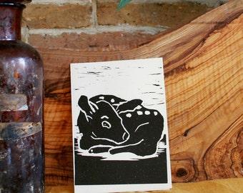 Deer - handmade linocit card black and white
