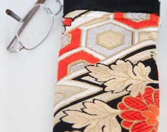 Vintage Japanese Silk Obi Glasses Case (Gold/ Black Zigzag)/ Vintage Japanese Silk Obi Case/ Vintage Japanese Silk Obi Pencil Case