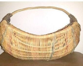 Hand Woven Basket,Round Bottom Basket,LARGE,Woven Basket,Twig Handles,Wool Yarn,Gods Eyes,Basket,Storage Basket,Rustic,Primatives