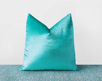 Turquoise Velvet Pillow Cover Turquoise Throw Pillow Modern Velvet Cushion Solid Turquoise Lumbar Velvet Throw Pillows 18x18 12x20