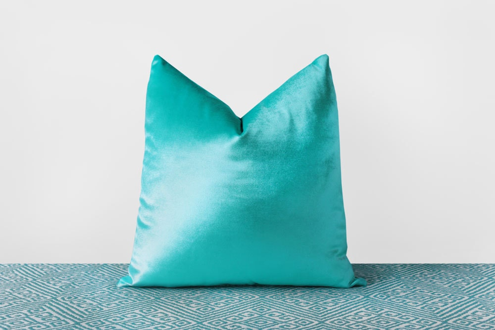 Turquoise Velvet Pillow Cover Turquoise Throw Pillow Modern