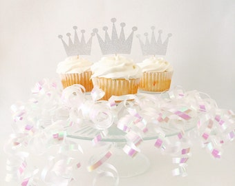 Crown Cupcake Toppers - Princess Party - Royal - Birthday Party - Baby Shower - Silver Glitter - Cake Topper