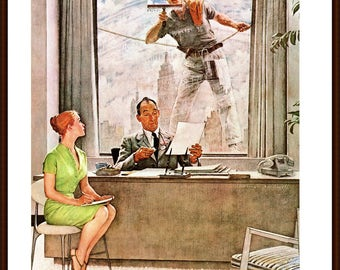 Norman Rockwell painted The Window Washer for the Post Cover 9/17/1960. The page is approx. 11 1/2 inches wide and 15 inches tall.