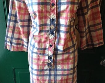Vintage PLAID SHIRTDRESS by NPC Fashions of Warren Pennsylvania - Women's Medium - Large Cotton Dress Button Placket 1960s 1970s Lumberjack