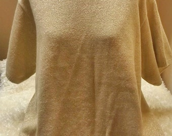 SALE Womens Gold Metallic Holiday Sweater 2X Plus Size Made in USA