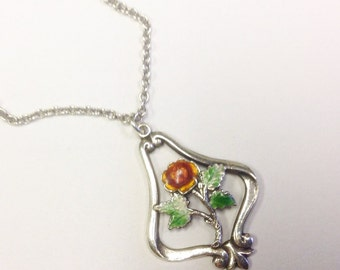 Vintage, silver and enamel, red rose, pendant necklace.