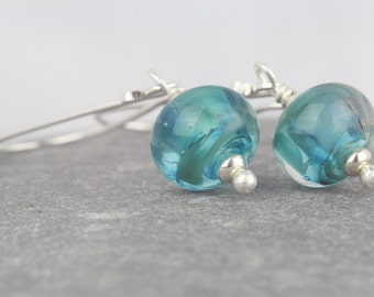Teal earrings ~ Sarah Downton ~ shimmer and shine birthday ~ turquoise dangle earrings ~ perfect gift ~ sterling silver dangle earrings