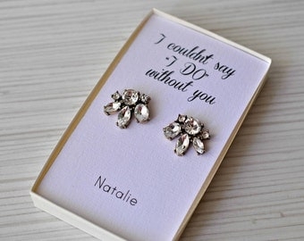 Bridesmaid|Gift|for women|Personalized jewelry|Cluster stud earrings|Wedding|gift|Wedding earrings|Art deco Studs|Stone Crystal Earrings