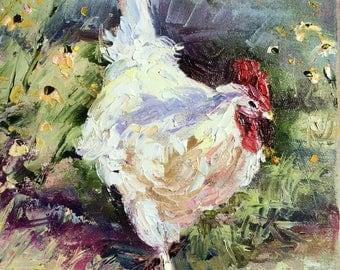 Snow White Chicken Print