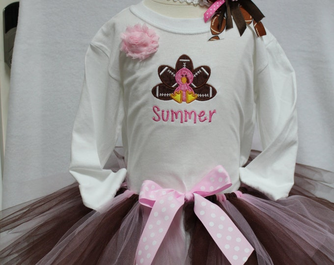 Girls Thanksgiving outfit,Turkey shirt,Football shirt,Brown and pink tutu,football headband,girl personalized Thanksgiving Day tukey outfit