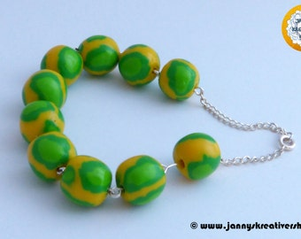 Yellow green polymer CLAY Beads Bracelet