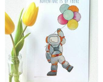 Spaceman Nursery Art, Framed Astronaut A4 Art Print, Astronaut Nursery Decor, Spaceman Kids Art,  Balloon Art Print, Cute Spaceman