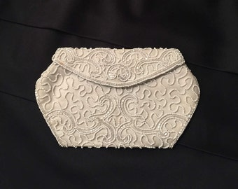 Vintage White Beaded Belgium Clutch