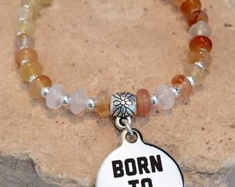 Amber/orange bracelet, carnelian bracelet, sterling silver bracelet, bracelet for runner, gift for runner, charm bracelet, stretch bracelet