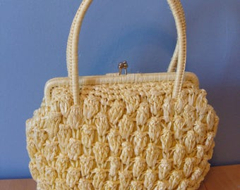 Vintage Woven Handbag Yellow 50's Straw Raffia Resort Bag Purse Top Handle Kiss Lock Spring Summer 1950's Pretty Lovely Chic Classic Retro