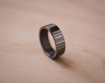 2-Tone Brushed Damasteel Blue Tongue Ring with a Tantalum Liner