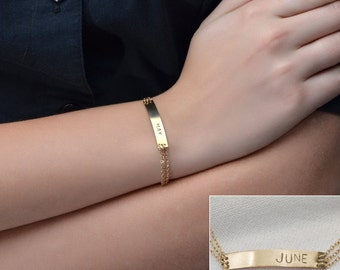 Gold NAMEPLATE BRACELET // Personalized Bar Bracelet - Initial Bracelet - Name Bar Bracelet - Custom Name Bracelet - Monogram Bracelet