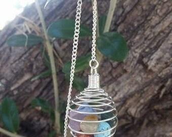 Chakra Cage  Pendulum ~ Genuine Gemstones~ Includes Black Velvet Bag ~ Red Jasper, Amethyst, Citrine, Green Av,Sodalite, Chakra balance