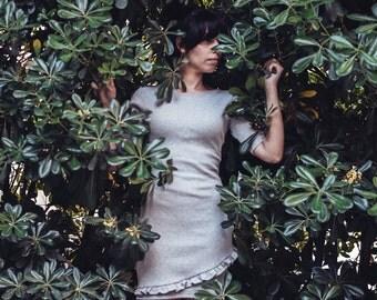 Usagi Collection - Ribbed Cotton Jersey Dress - Grey Cotton 3/4 Dress - Soft and Light - Mini Ruffles Dress