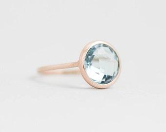 Blue Topaz Ring, Blue Topaz Gold Ring, Blue Stone Ring, Gold Gemstone Ring, Blue Gemstone Ring, Gold Stone Ring, Bridal Gold Ring, GR0229