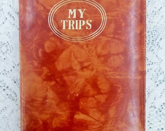 Vintage world map journal etsy vintage travel journal my trips brown leather diary australian facts gumiabroncs Gallery