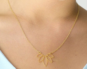 Yoga Jewelry, Dainty Necklace, Gold Plated Necklace, Unique Woman Jewelry, Delicate Necklace, Lotus Jewelry, Floral Pendant, Nature Pendant