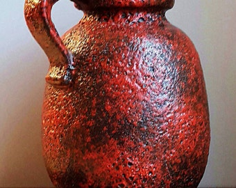 """Very Large 12"""" tall Vintage 60-70's Scheurich Keramik Fat Lava Era Red Vase - Jug from West German Pottery, marked 484-30, European Pottery"""