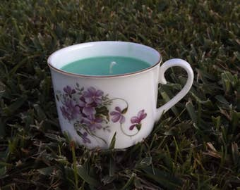 English Gardens Soy Wax Tea Cup Candle ~ Hand Poured