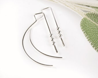 Hoops Sterling Silver, Medium Hoop Earrings, Curved Open Hoops,Funky Hoop Earrings,Modern Hoop Earrings,Curved Earrings, New Hoop Earrings