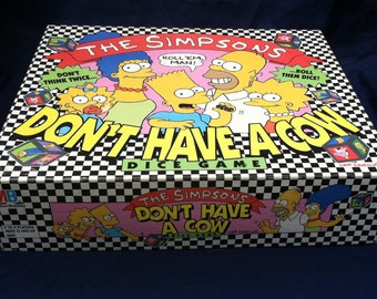 The Simpsons: Don't Have a Cow dice / board game, 1990, Milton Bradley vintage game with The Simpsons family, retro cartoon game; nineties