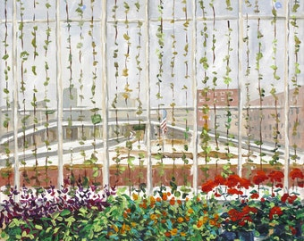 Grand Rapids Downtown Market, Greenhouse in winter, Red Geraniums and Snow, Cityscape, City Garden