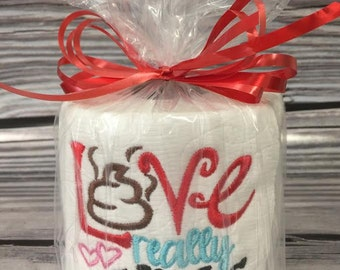 Love Really Stinks Valentine Embroidered Toilet Paper