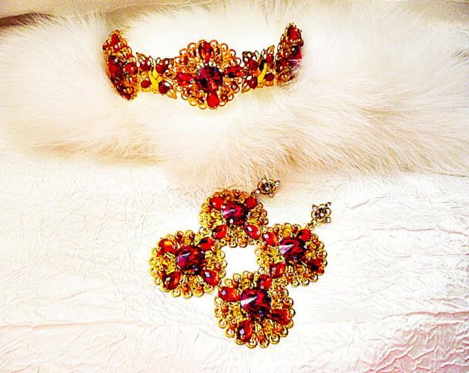 Gold Red Siam Wedding Jewelry Set Crown Earrings Headband Tiara replica Bridal Wedding Diamante adult dg crown tv doll crown trifari set