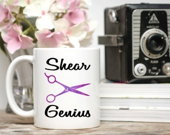 Hair dresser gift, stylist gift, hair stylist gift, shear genius, funny gift for stylist, funny gift for hair dresser, hair stylist mug
